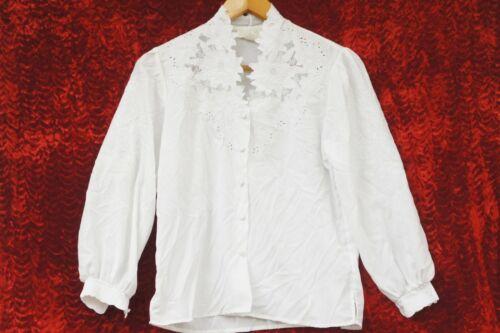 Vintage 90s Lace Trim White Blouse