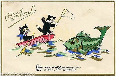 Chats noirs . poisson d'avril . barque .black cats . fish .boat