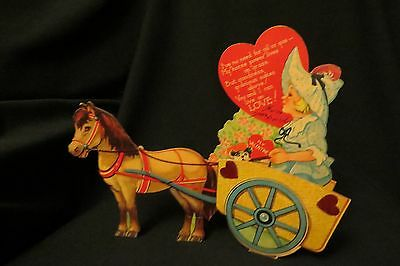 Vintage SHETLAND Pony Pull Cart Valentine card c. 1930s UNIQUE