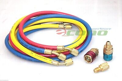 Hvac R12 R134a R22 Charging Testing 3 Color Hoses W Quick Adapters 12 Acme