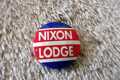 """c1960 Nixon Lodge presidential campaign pinback 7/8"""" button pin"""