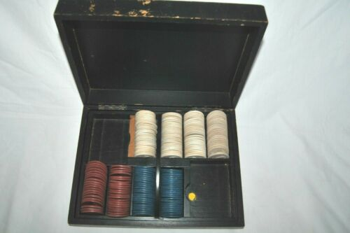 Antique SET of 181 Clay Golfer Embossed Poker Chips Red Blue White w/BOX
