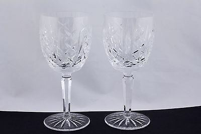 """SET OF 2 WATERFORD CRYSTAL GLENGARRIFF 7"""" WATER GOBLETS - MINT"""