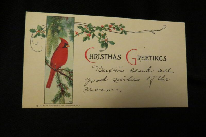 Vintage ART DECO CARDINAL Christmas Card c. 1920s NATURE MAGAZINE Washington DC