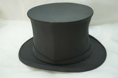 ANTIQUE TOP HAT DUNLAP NEW YORK COLLAPSIBLE BLACK SILK SIZE 7 OPERA EDWARDIAN - Collapsible Top Hats