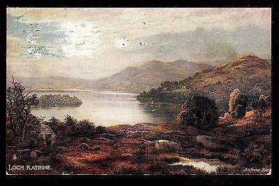 1910 Tuck artist signed Andrew Blair Loch Katrine Scotland UK postcard