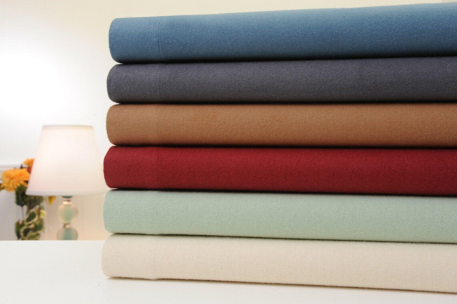 Bibb Home 100% Cotton Solid Flannel Sheet Set - Cozy, Soft,