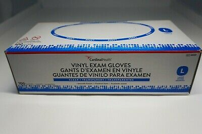 Cardinal Health Vinyl Exam Gloves Size L 100 Count Clear