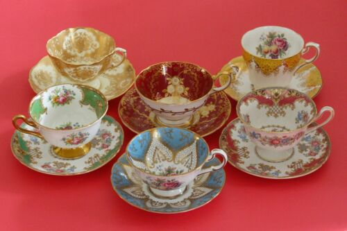 Lot of 6 Vintage Footed Cups Saucers Paragon Aynsley Shelley Roses Gold