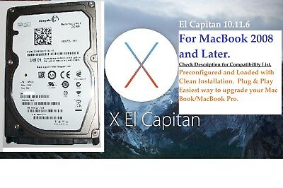 250GB Hard Drive for MacBook 2008 and Later. Pre-installed with El Capitan (250 Gb Hard Drive Macbook)