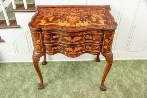 Antique Dutch 18th C. Inlaid Walnut Marquetry Table