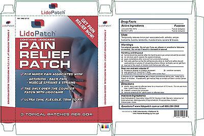 PAIN RELIEF PATCH,  LIDOPATCH 3.60% LIDOCAINE & 1.25% MENTHOL OTC, 3/BX