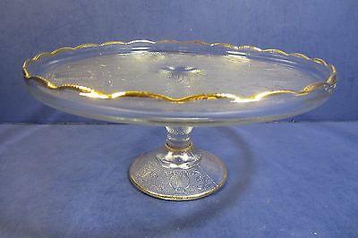 Vintage Jeannette Glass Pedestal Harp Cake Plate - 22K Gold Trim