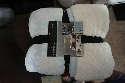 "Cuddl Duds Sherpa Fleece Plush Throw Blanket Blue Snowflake 50"" x 60"" Winter"