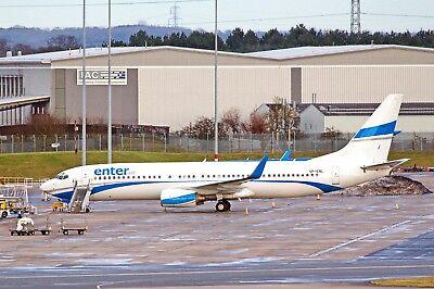 Enter Air Boeing 737-8CX SP-ENL Arrived BHX From Enontekio 29-12-2017 Postcard