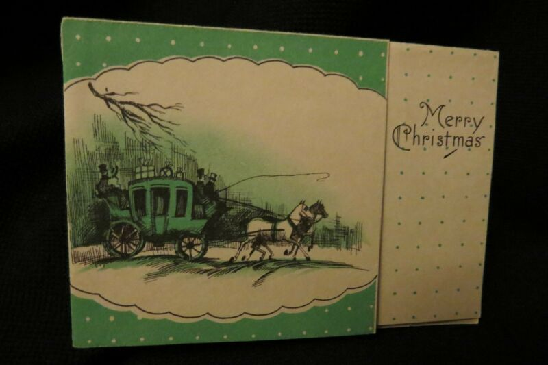 Vintage ART DECO Horse Coach Christmas Card c. 1920s
