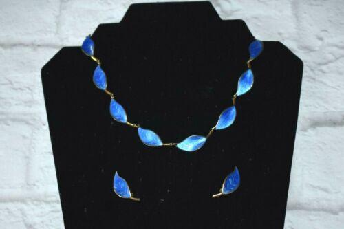 Vintage DAVID ANDERSEN Sterling Silver Blue Guilloche Enamel Necklace Earrings