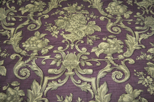 WAVERLY Prague Floral Fruit Drapery Upholstery Purple Gold Linen Cotton 25+Yrds