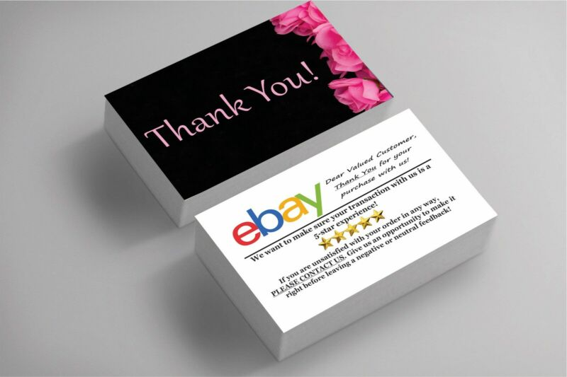 100 Full Color Business Cards | Ebay Sellers Thank You | Floral | Free Shipping