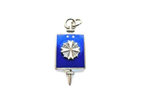Vintage Sterling Sil Enamel Masonry DeMolay Blue Honor Key Fob Charm Two Stars