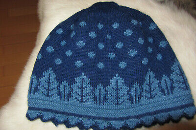 Oleana Designer Mütze blau Damen Frauen Mädchen Normalgröße Spitze sehr edel neu