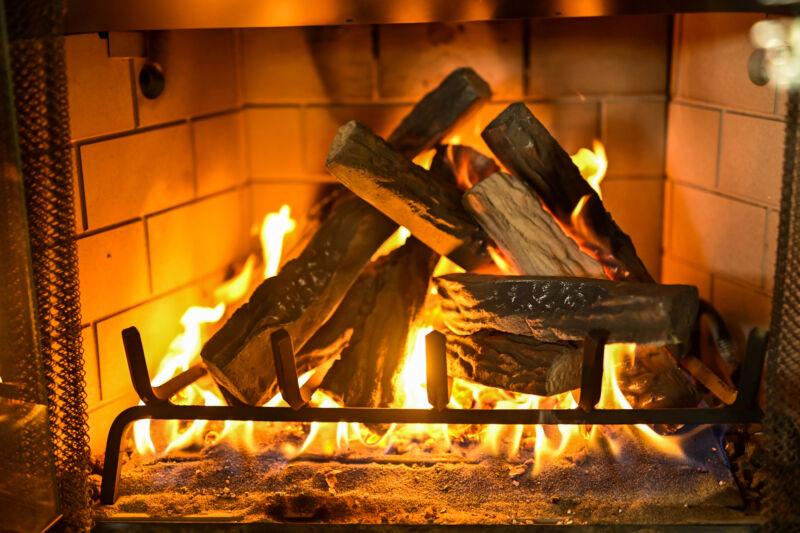 10-Pieces Set Realistic Flame Large Ceramic Wood Fireplace Logs Firepit Log Set