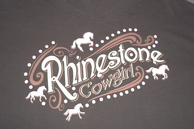 Cowgirl Womens Pink T-shirt (Rhinestone Cowgirl T-Shirt with Pink Horses Womens Ladies 2XL )