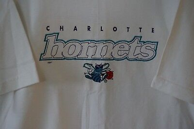 - Vtg Charlotte Hornets T Shirt Sz X Large Pro Player USA Made White Embroidered