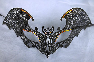 Bat Mask (Black Gothic Bat Orange XL Venetian Mask Masquerade Metal Filigree)