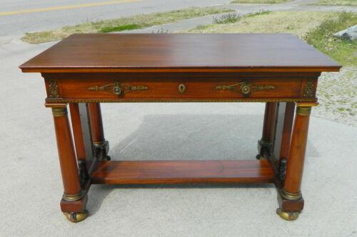 Mahogany Empire Style Flat Top Desk Brass/Bronze Mounts~~Vintage