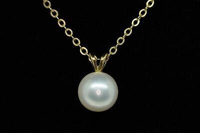 "Mikimoto (c) 18K Yellow Gold 7.9mm+ AA Japanese Akoya Pearl Pendant Necklace 16"""