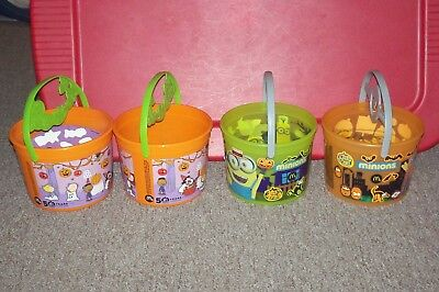 Mcdonalds Happy Meal Halloween Trick Or Treat Bucket lot of 4 peanuts & minions