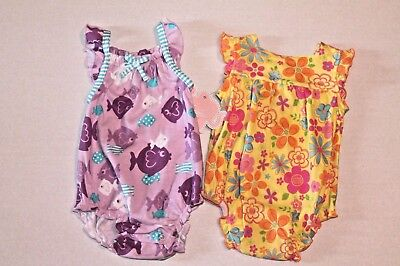 Baby Bubble-outfits (Infant Baby Girl Size 3 Months Set of 2 Knit One-Piece Bubble Outfits NEW)