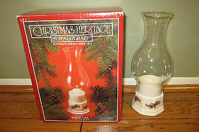 "PHALTZGRAFF CHRISTMAS HERITAGE TABLE LITE HURRICANE CANDLE HOLDER 12-620 10.5"""