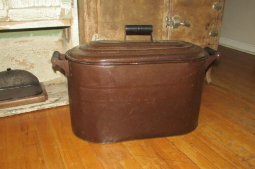 Antique Vintage Tin Copper? Boiler Wash Tub with Lid & Wood Handles    #1054DR