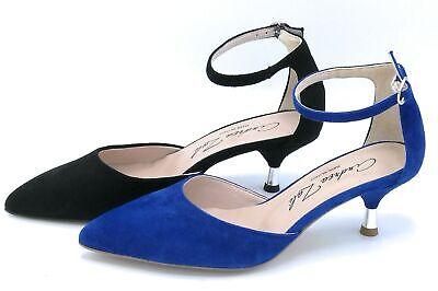 Andrea Zali 1506 Decoleete Strap Ankle Boots Wildleder Electric Blue/Black Leder Ankle Strap Pumps