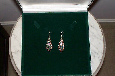 "NWOT Sterling/Rose Gold Accent Clear Quartz Pierced Drop Earrings, 2 1/4""Lx3/4""W"