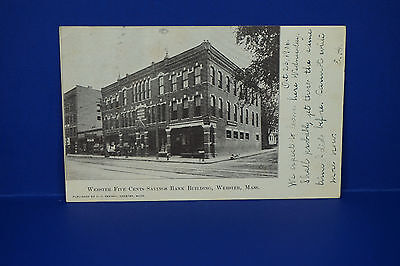 Vintage Webster Five Cents Savings Bank Building Webster Ma Rppc Used  Pc4