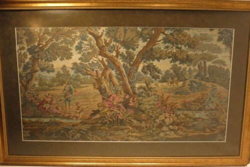 """A Large French Antique Verdure Tapestry of a Woodland Hunting Scene 39"""" x 25"""""""