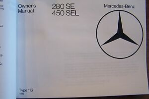 1980-Mercedes-280se-450sel-Owners-Manual-w116-Parts-Service-reprint