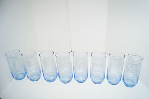 VINTAGE DRINKING GLASSES 16 OZ LIGHT BLUE SWIRL LOT OF 8 EUC