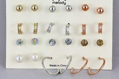 Copper Crystal Earrings - 12 pair earrings gold silver copper hoops ball crystal bead stud post set pack