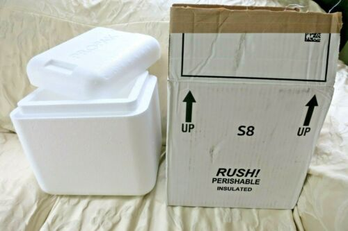 """Styrofoam Insulated Cooler Shipping Container 11"""" x 11"""" x 9 """" WITH OUTER BOX"""