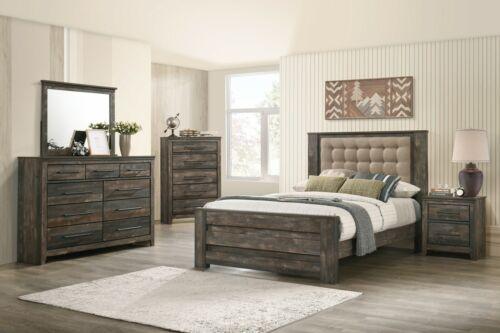Rustic 5-Piece Bedroom Set Queen Bed Nightstand Dresser Mirror Chest, Brown