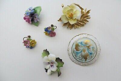 Lot of Porcelain 4 Brooches Pr. Earrings England Dresden Coalport Crown C Crafts