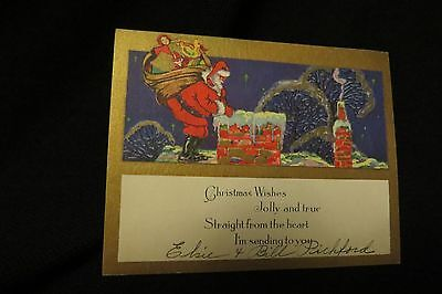 Vintage ART DECO SANTA Christmas Card c. 1930s
