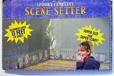 Halloween Decoration Prop Spooky Graves Skulls Cemetery Large Scene Setter  - Spooky Scene