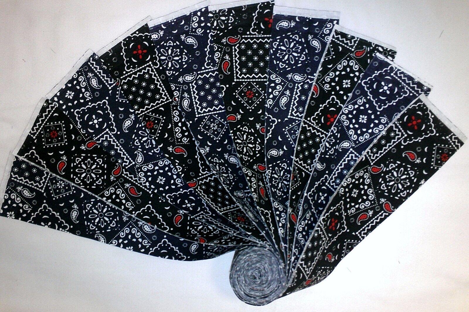 20 2.5 Quilting Fabric Jelly Roll Blazing Bandannas Black/Black Red Buy IWOF - $7.49