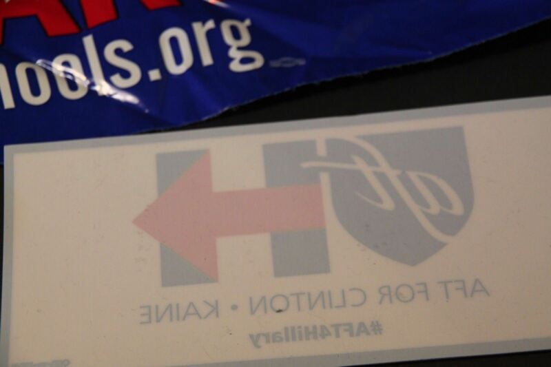 New Hillary Clinton  Pin & Car Decal 2016 Teacher Democrat Education Union