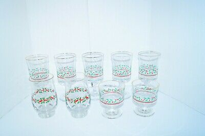 Christmas Drinking Glasses (VINTAGE CHRISTMAS DRINKING GLASSES HOLLY PATTERN LOT 9)